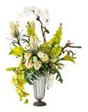 Bouquet d'orchidée et de zantedeschia dans le vase en verre Images libres de droits