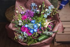 Bouquet of dahlia, allium, hyacinth, eustoma Stock Photos