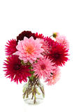 Bouquet of Dahlias. Cheerful bouquet in vase with red and pink Dahlias Stock Images