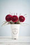 Bouquet of dahlias in vintage vase Royalty Free Stock Images