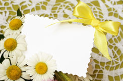 Bouquet of daisies  with a card Stock Photos
