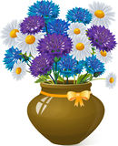 Bouquet of daisies and cornflowers in clay pot. Royalty Free Stock Photo