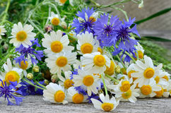 A bouquet of daisies and cornflowers on wooden table Royalty Free Stock Image
