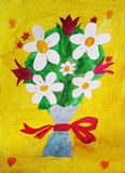Bouquet. A bouquet of daisies and tulips children's artwork Royalty Free Stock Image
