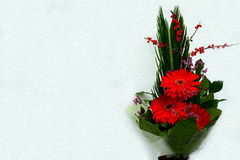 Bouquet with Daisy flower red gerbera and leaves Stock Photos