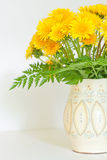 Bouquet of dandelions in a white jug Stock Image