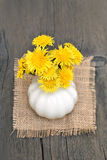 Bouquet of dandelions on wooden table Royalty Free Stock Image
