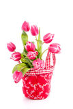A bouquet of dark pink tulips royalty free stock photography