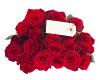 Bouquet of dark  red roses with tag Royalty Free Stock Photos