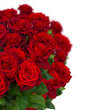 Bouquet of dark  red roses in vase close up Royalty Free Stock Images