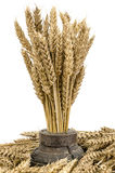 Bouquet de blé dans la roue en bois photographie stock libre de droits