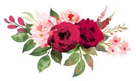 Bouquet de fleur avec les roses rouges et roses illustration libre de droits