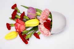 Bouquet de fleur dans une tasse bleue Photos stock