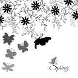 Bouquet de fleur et de papillon mignons, floral Photo stock