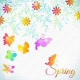 Bouquet de fleur et de papillon mignons, floral Image stock