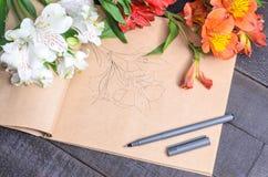 Bouquet de fleur de lettre d'amour Photo libre de droits