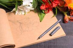 Bouquet de fleur de lettre d'amour, l'espace libre Photographie stock