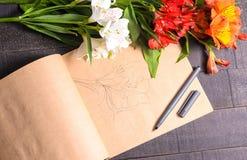 Bouquet de fleur de lettre d'amour, l'espace libre Images libres de droits