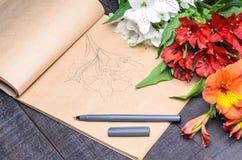 Bouquet de fleur de lettre d'amour, l'espace libre Image stock
