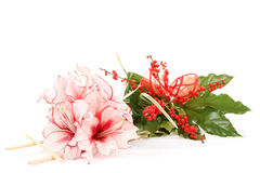 Bouquet de fleur rose de lis sur le blanc Image libre de droits