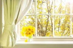 Bouquet de fleur sur un rebord de fenêtre Photographie stock libre de droits