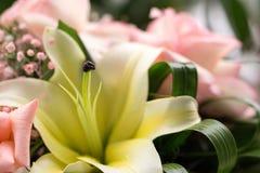 Bouquet de fleurs avec un lis jaune Image stock