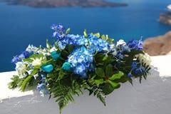 Bouquet de flowersl bleu La Grèce, Santorini Photo stock