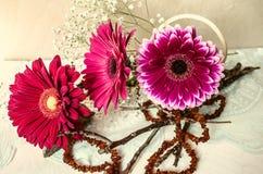 Bouquet de gerbera rouge et de branches sèches avec les perles ambres Photos stock