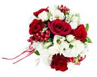Bouquet de mariage des roses blanches et rouges Image libre de droits