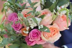 Bouquet de mariage des roses de pêche par David Austin, aqua tête simple de rose de rose, eucalyptus, ruscus, gypsophila Image libre de droits