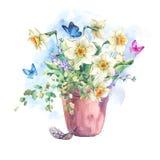 Bouquet de ressort de jardin d'aquarelle dans des pots de fleur Photographie stock libre de droits