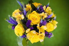 Bouquet de roses de fin de cadeau de fleur, viole de jaune de carte de voeux Photos stock