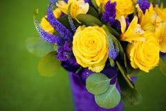 Bouquet de roses de fin de cadeau de fleur, viole de jaune de carte de voeux Photos libres de droits
