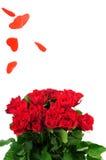 Bouquet de roses et pluie de coeur Photo libre de droits