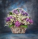 Bouquet de source Le muguet et lilas dans un panier photos libres de droits
