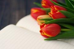 Bouquet de tulipe et carnet vide Images libres de droits
