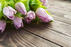 Bouquet de tulipe pourpre sur une table en bois Images libres de droits