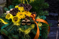 Bouquet decoration on grave Royalty Free Stock Photography