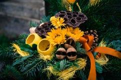 Bouquet decoration on grave Stock Photos