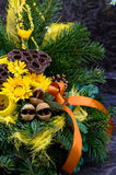 Bouquet decoration on grave Royalty Free Stock Photo