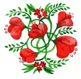 Bouquet with decorative red flowers Royalty Free Stock Images