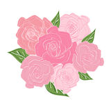 Bouquet of delicate roses with leaves. Wedding bouquet, bouquet of the bride Royalty Free Stock Photo