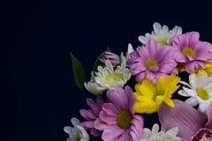Bouquet des asters roses, blancs et jaunes de fleurs Photo libre de droits