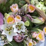 Bouquet des bourgeons des lis, des tulipes roses et du protea Images stock