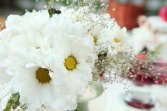 Bouquet des chrysanthèmes blancs, fleurs dans la cuisine photographie stock libre de droits