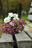 Bouquet des chrysanthèmes se trouvant sur le banc Image stock
