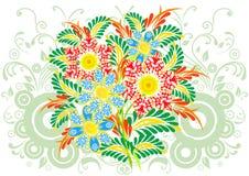 Bouquet des fleurs abstraites avec le fond Illustration Stock