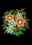 Bouquet des fleurs abstraites sur le fond foncé Illustration de Vecteur