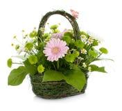 Bouquet des fleurs dans le panier et le guindineau Photos stock