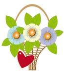 Bouquet des fleurs dans un panier Image libre de droits